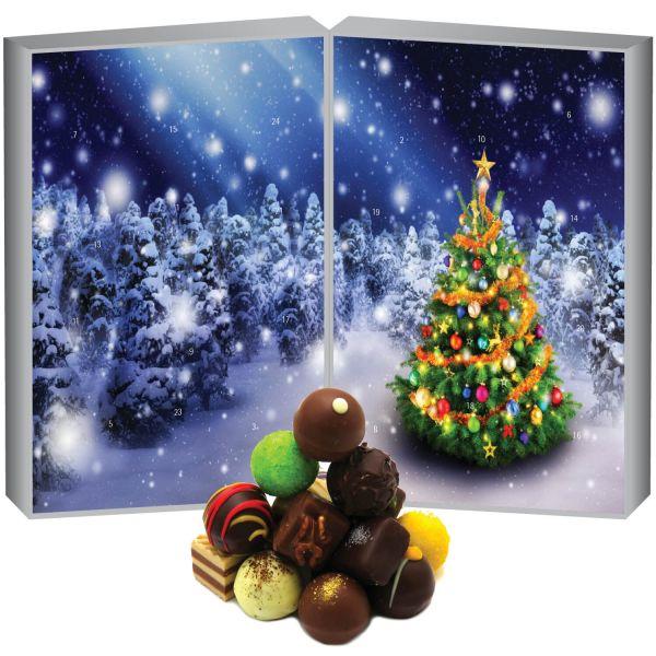 24 Pralinen-Adventskalender, mit/ohne Alkohol (300g) - Zauberwald (Buch-Karton)