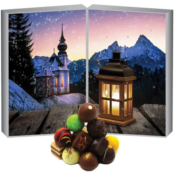 24 Pralinen-Adventskalender, mit/ohne Alkohol (300g) - Bergkirche (Buch-Karton)