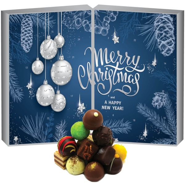 24 Pralinen-Adventskalender, ohne Alkohol (300g) - Blue Christmas (Buch-Karton)