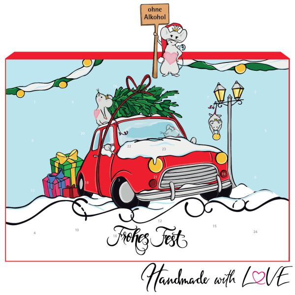 24 Pralinen-Adventskalender, mit/ohne Alkohol (300g) - Flamingo (Advents-Karton)