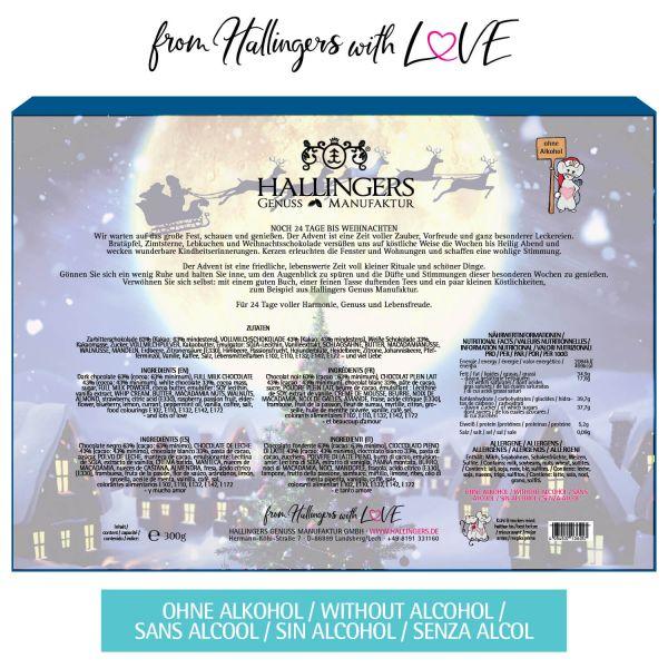 24 Pralinen-Adventskalender, mit/ohne Alkohol (300g) - Magische Reise (Advents-Karton)