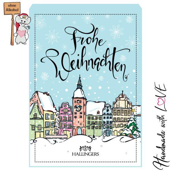 24 Pralinen-Adventskalender, ohne Alkohol (300g) - Prächtige Altstadt (Advents-Karton)