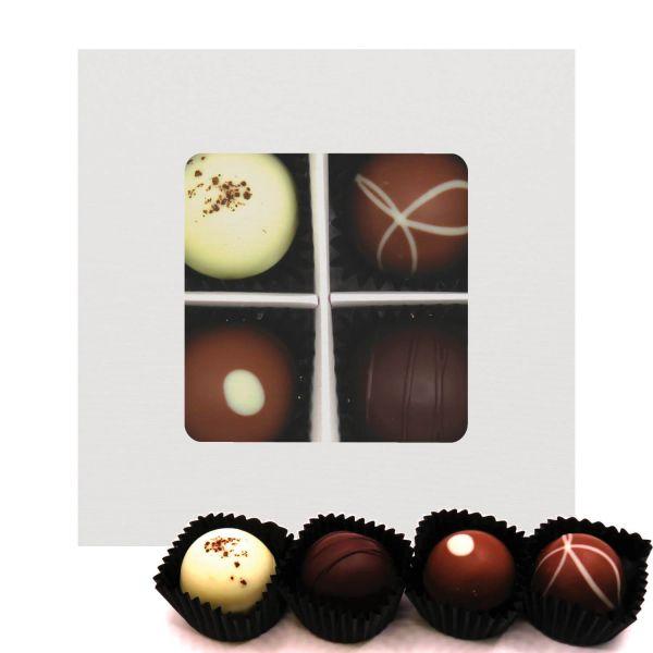 4er Pralinen-Mix handgemacht, mit/ohne Alkohol (48g) - Glitzerweiß (Pralinenbox)