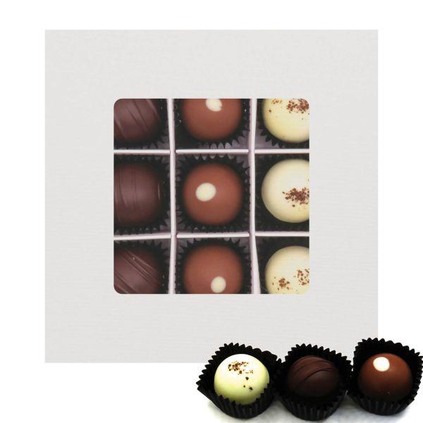 9er Pralinen-Mix handgemacht, mit/ohne Alkohol (108g) - Glitzerweiß (Pralinenbox)