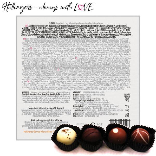 4er Pralinen-Mix handgemacht, mit/ohne Alkohol (48g) - Herzlichen Glückwunsch (Pralinenbox)