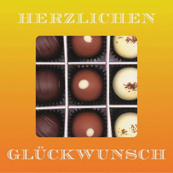 9er Pralinen-Mix handgemacht, mit/ohne Alkohol (108g) - Herzlichen Glückwunsch (Pralinenbox)