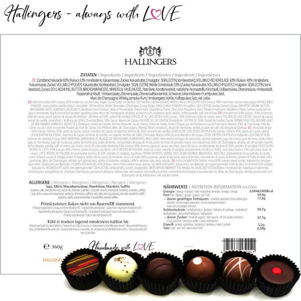 30er Pralinen-Mix handgemacht, mit/ohne Alkohol (360g) - Herzlichen Glückwunsch (Pralinenbox)