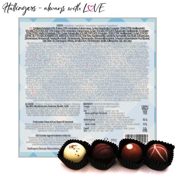 4er Pralinen-Mix handgemacht, mit/ohne Alkohol (48g) - Bavaria (Pralinenbox)