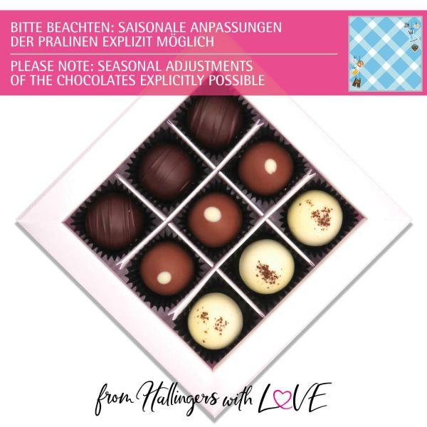 9er Pralinen-Mix handgemacht, mit/ohne Alkohol (108g) - Bavaria (Pralinenbox)