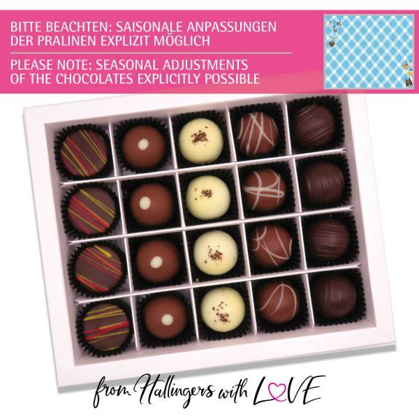 20er Pralinen-Mix handgemacht, mit/ohne Alkohol (240g) - Bavaria (Pralinenbox)