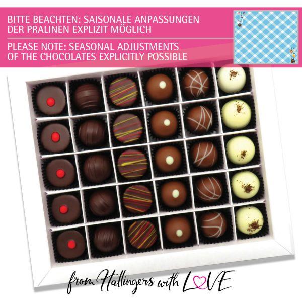 30er Pralinen-Mix handgemacht, mit/ohne Alkohol (360g) - Bavaria (Pralinenbox)