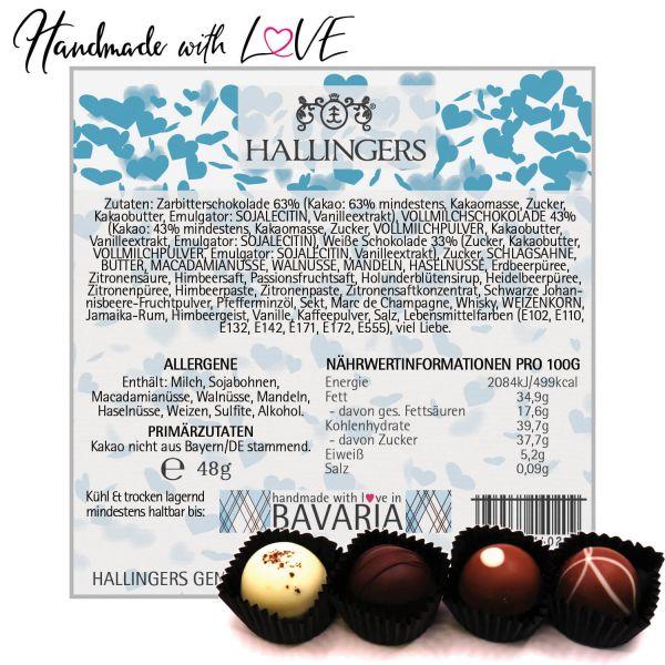 4er Pralinen-Mix handgemacht, mit/ohne Alkohol (48g) - Blue Hearts (Pralinenbox)