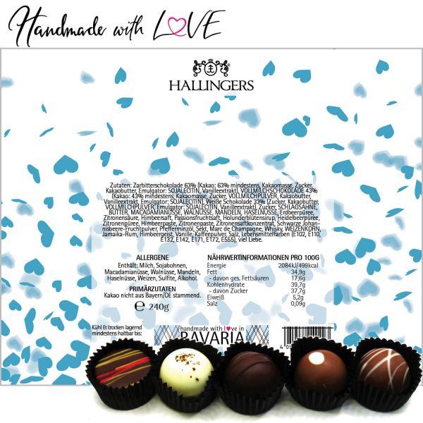 20er Pralinen-Mix handgemacht, mit/ohne Alkohol (240g) - Blue Hearts (Pralinenbox)