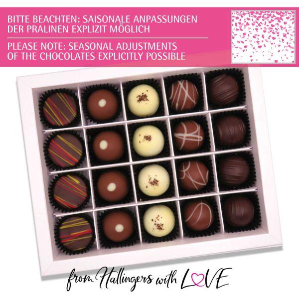 20er Pralinen-Mix handgemacht, mit/ohne Alkohol (240g) - Pinke Herzen (Pralinenbox)