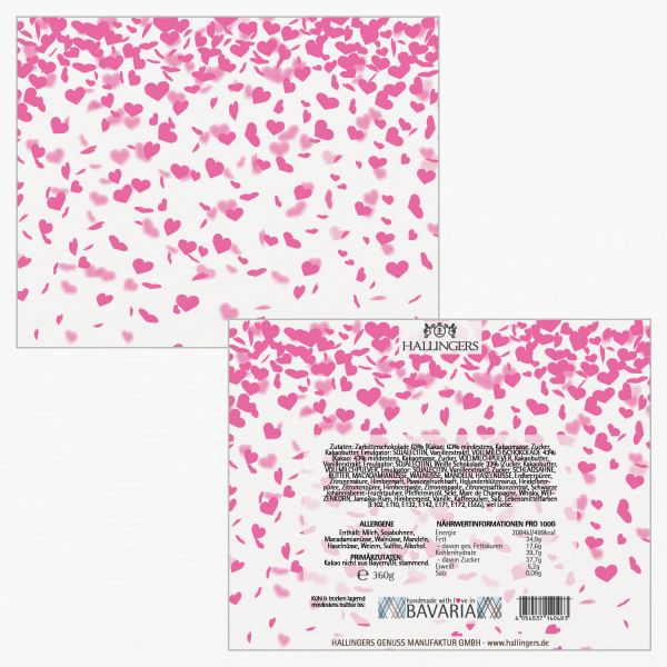 30er Pralinen-Mix handgemacht, mit/ohne Alkohol (360g) - Pinke Herzen (Pralinenbox)