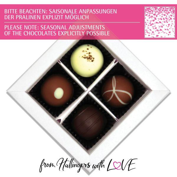 4er Pralinen-Mix handgemacht, mit/ohne Alkohol (48g) - Pinke Herzen (Pralinenbox)