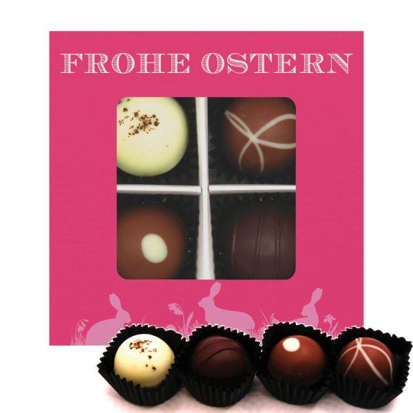 4er Pralinen-Mix handgemacht, mit/ohne Alkohol (48g) - Frohe Ostern pink (Pralinenbox)