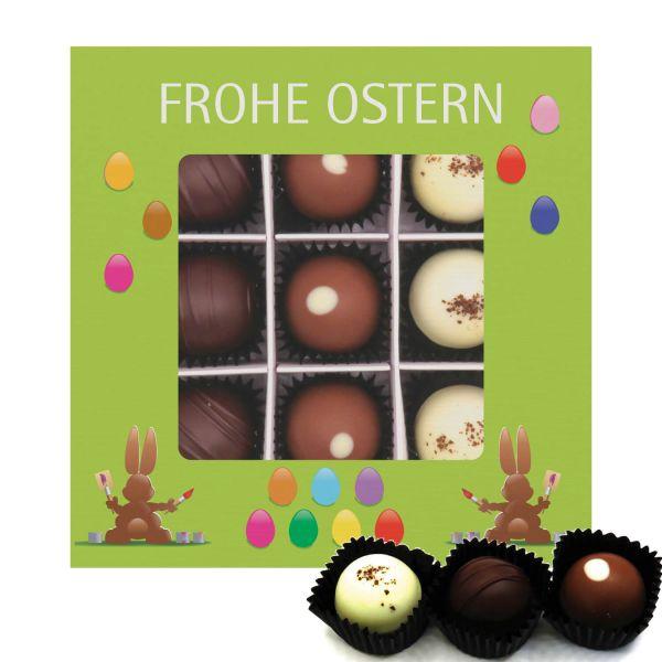 9er Pralinen-Mix handgemacht, mit/ohne Alkohol (108g) - Frohe Ostern grün (Pralinenbox)