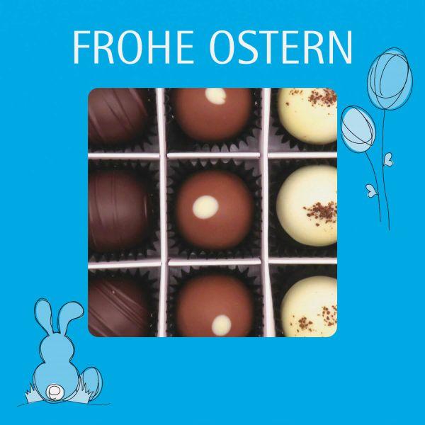 9er Pralinen-Mix handgemacht, mit/ohne Alkohol (108g) - Frohe Ostern blau (Pralinenbox)
