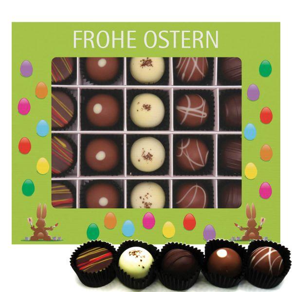 20er Pralinen-Mix handgemacht, mit/ohne Alkohol (240g) - Frohe Ostern grün (Pralinenbox)