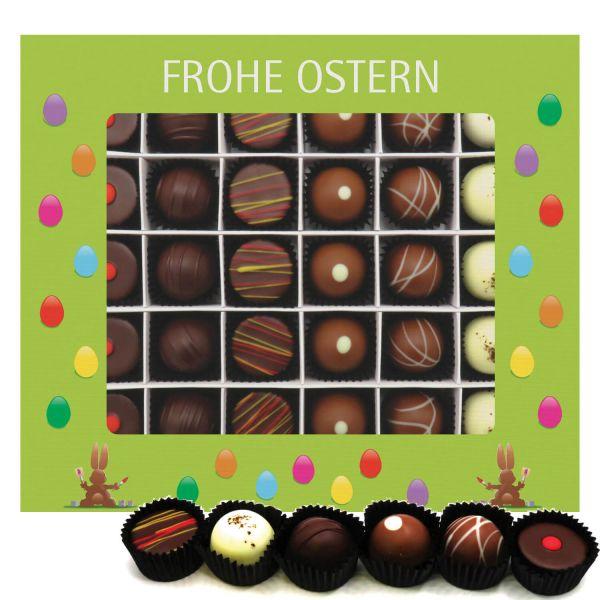 30er Pralinen-Mix handgemacht, mit/ohne Alkohol (360g) - Frohe Ostern grün (Pralinenbox)