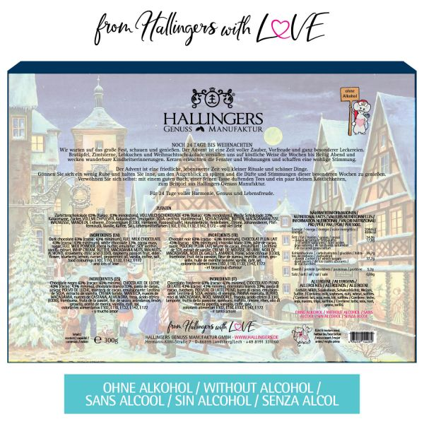 24 Pralinen-Adventskalender, mit/ohne Alkohol (300g) - Rothenburg (Advents-Karton)