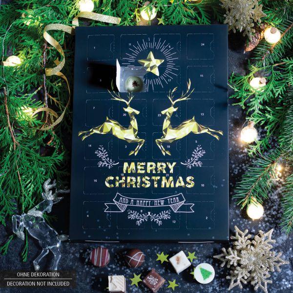 24 Pralinen-Adventskalender, mit/ohne Alkohol (300g) - Goldene Elche (Advents-Karton)