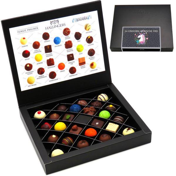 24 Pralinen in edler Geschenk-Box, mit/ohne Alkohol (300g) - 24 Einhorn-Wünsche Frei (FirstClass-Box)