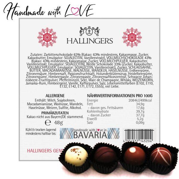 4er Pralinen-Mix handgemacht, mit/ohne Alkohol (48g) - Frohes Fest Rot (Pralinenbox)