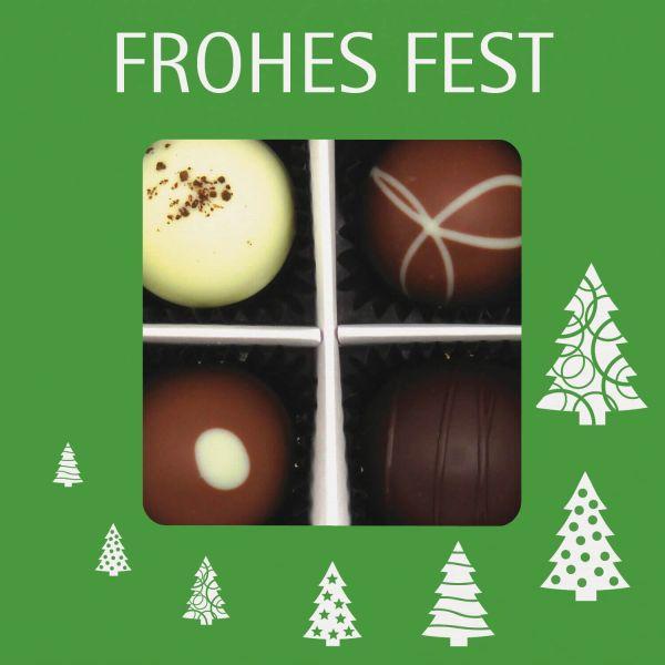 4er Pralinen-Mix handgemacht, mit/ohne Alkohol (48g) - Frohes Fest Grün (Pralinenbox)
