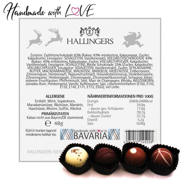 Geschenk-Set mit Tafel Schokolade, Pralinen, Nougat-Mandeln und Tee (340g) - Groß No. 01 (Große Genusstasche)