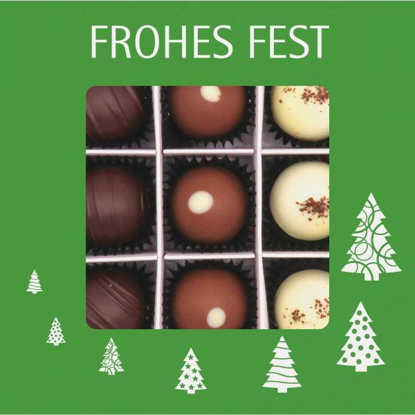 9er Pralinen-Mix handgemacht, mit/ohne Alkohol (108g) - Frohes Fest Grün (Pralinenbox)