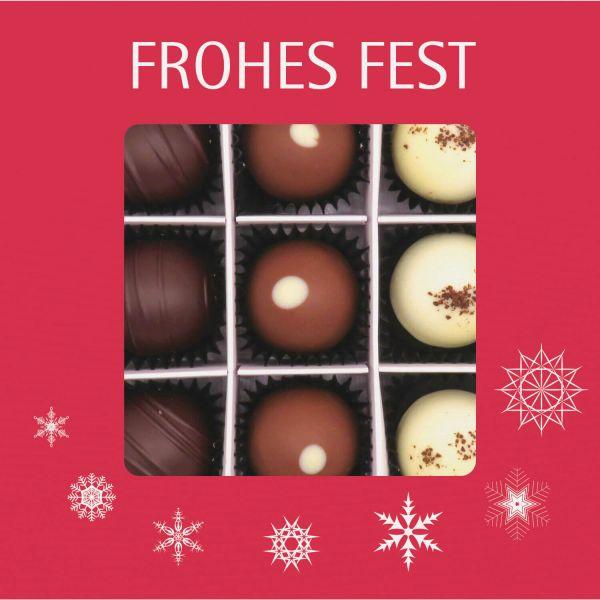 9er Pralinen-Mix handgemacht, mit/ohne Alkohol (108g) - Frohes Fest Rot (Pralinenbox)
