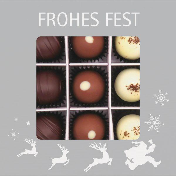 9er Pralinen-Mix handgemacht, mit/ohne Alkohol (108g) - Frohes Fest Silber (Pralinenbox)