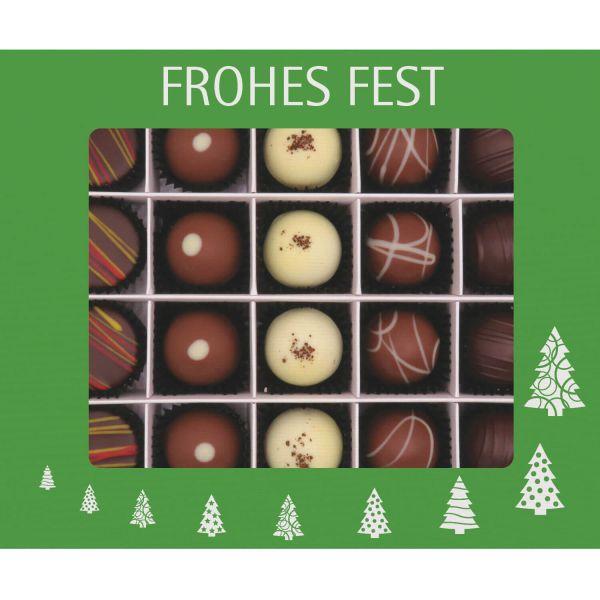 20er Pralinen-Mix handgemacht, mit/ohne Alkohol (240g) - Frohes Fest Grün (Pralinenbox)