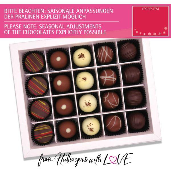 20er Pralinen-Mix handgemacht, mit/ohne Alkohol (240g) - Frohes Fest Rot (Pralinenbox)