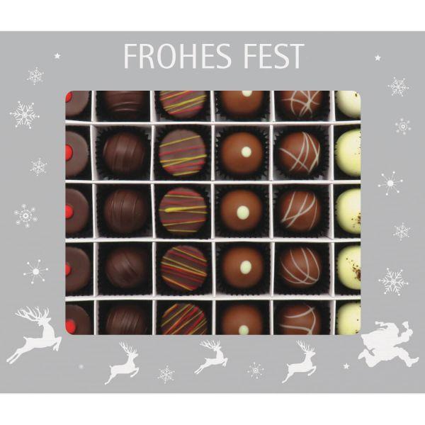 30er Pralinen-Mix handgemacht, mit/ohne Alkohol (360g) - Frohes Fest Silber (Pralinenbox)