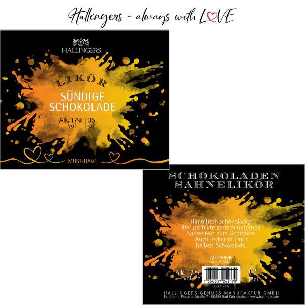 Premium Schokoladen-Sahne-Likör (350ml) - Schokolade, Likör 17% vol. (Exklusivflasche)
