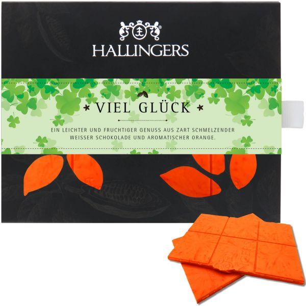 Weiße Schokolade mit Orange hand-geschöpft (90g) - Viel Glück (Tafel-Karton)