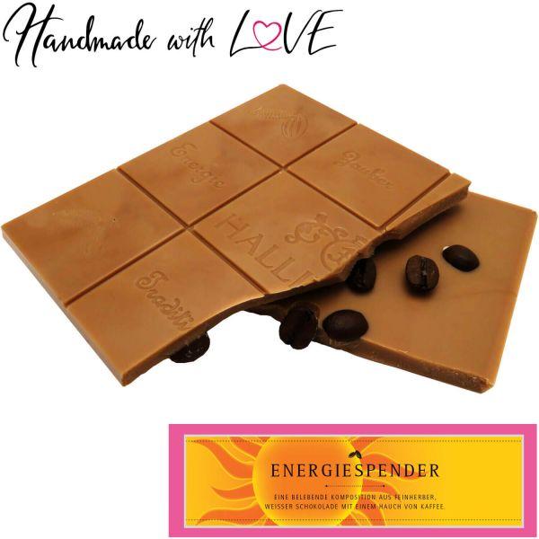 Weiße Schokolade mit Kaffee hand-geschöpft (90g) - Energiespender (Tafel-Karton)