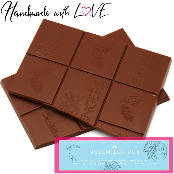 Vollmilch-Schokolade zart schmelzend hand-geschöpft (90g) - Pur (Tafel-Karton)