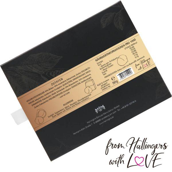 Vollmilch-Schokolade mit Nuss-Nougat hand-geschöpft (90g) - Macadamia-Nougat (Tafel-Karton)