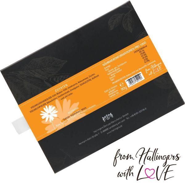 Vollmilch-Schokolade mit Cappuccino hand-geschöpft (90g) - Entschuldigung (Tafel-Karton)