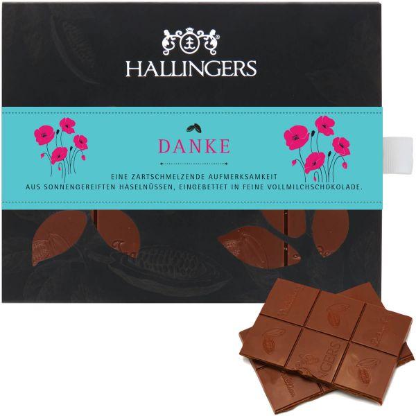 Vollmilch-Schokolade mit Haselnuss hand-geschöpft (90g) - Danke (Tafel-Karton)