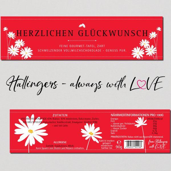 Vollmilch-Schokolade, zart schmelzend hand-geschöpft (90g) - Herzlichen Glückwunsch (Tafel-Karton)