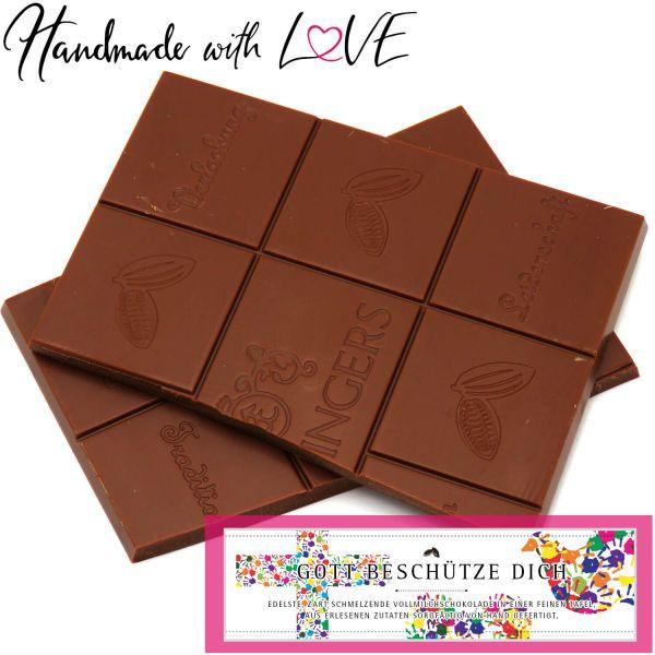 Vollmilch-Schokolade, zart schmelzend hand-geschöpft (90g) - God Bless You (Tafel-Karton)