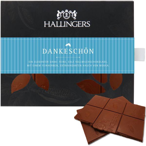 Vollmilch-Schokolade mit Cappucino hand-geschöpft (90g) - Dankeschön (Tafel-Karton)