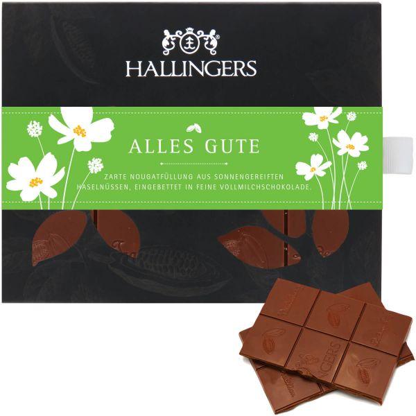 Vollmilch-Schokolade mit Haselnuss-Nougat hand-geschöpft (90g) - Alles Gute (Tafel-Karton)