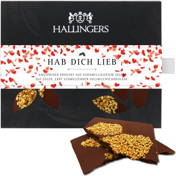 Vollmilch-Schokolade mit Krokant hand-geschöpft (90g) - Hab Dich lieb (Tafel-Karton)