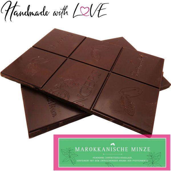 Zartbitter-Schokolade mit Minze hand-geschöpft (90g) - Marrokanische Minze (Tafel-Karton)